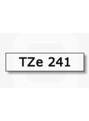 TZe-241 (18มม. x 8เมตร พื้นขาว ตัวอักษรดำ)