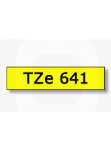 TZe-641 (18มม. x 8เมตร พื้นเหลือง ตัวอักษรดำ)