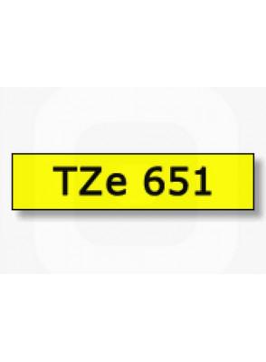 TZe-651 (24มม. x 8เมตร พื้นเหลือง ตัวอักษรดำ)
