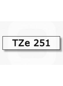 TZe-251 (24มม. x 8เมตร พื้นขาว ตัวอักษรดำ)