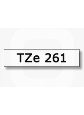 TZe-261 (36มม. x 8เมตร พื้นขาว ตัวอักษรดำ)