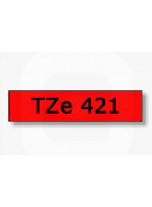 TZe-421 (9มม. x 8เมตร พื้นแดง ตัวอักษรดำ)