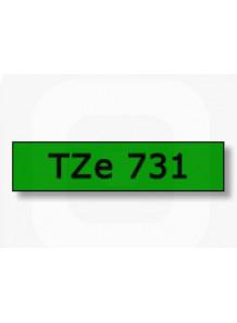TZe-731 (18มม. x 8เมตร พื้นเขียว ตัวอักษรดำ)