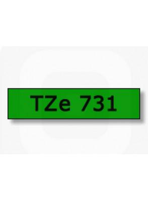 TZe-741 (18มม. x 8เมตร พื้นเขียว ตัวอักษรดำ)