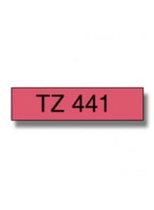 TZe-441 (18มม. x 8เมตร พื้นแดง ตัวอักษรดำ)