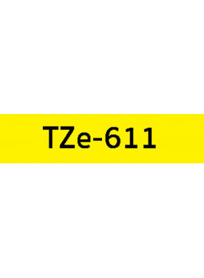 TZe-611 (6มม. x 8เมตร พื้นเหลือง ตัวอักษรดำ)